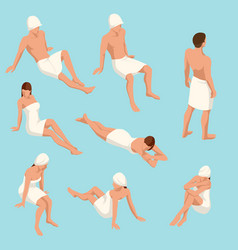 Isometric set people in different poses for vector