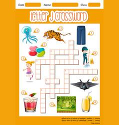 Letter j crossword template vector