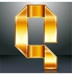 Letter metal gold ribbon - Q vector