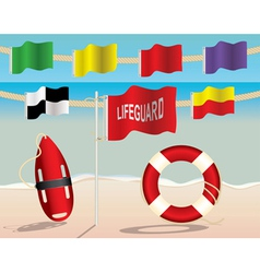 Lifeguard warning flags and floatation devices vector
