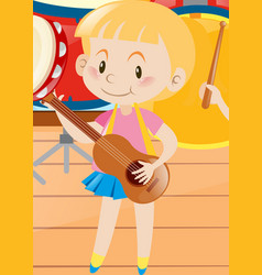 little girl playing ukulele vector image