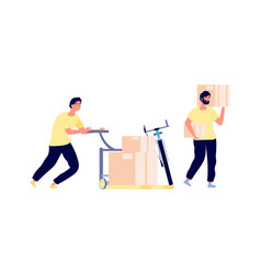 Loaders service men hold boxes smart cargo vector