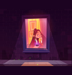 Lonely sad girl sitting alone at window with phone vector