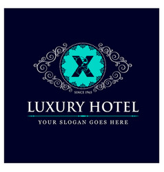 Luxury hotel design with logo and typography vector