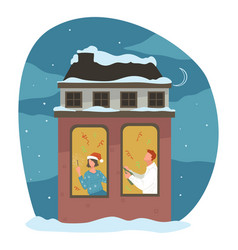 man and woman celebrating christmas holiday vector image