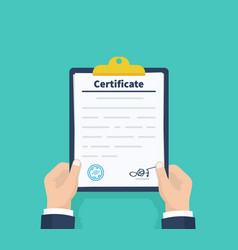 man hold certificate checklist holding the vector image