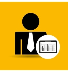 Man silhouette business and tablet statistics vector
