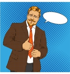 man with thumb up pop art vector image