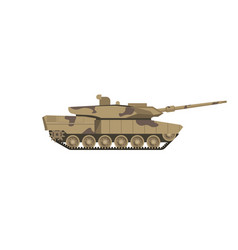 Military tank of camouflage color isolated cartoon vector