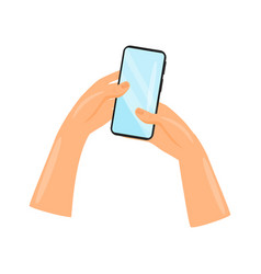 mobile phone with blue touch screen in human hands vector image