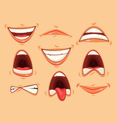 mouth emotions smiling and angry scream vector image
