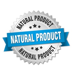 natural product 3d silver badge with blue ribbon vector image