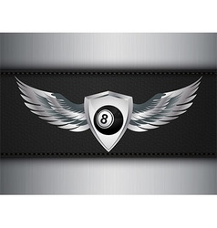 Number eight black ball and shield with wings vector