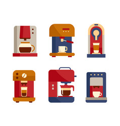 Office coffee machine icons flat style design vector