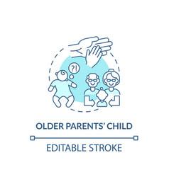 Older parents child concept icon vector