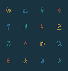 People icons line style set with woman child vector