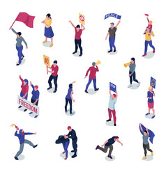 protesting people isometric set vector image