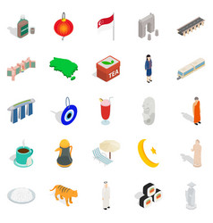 rest in singapore icons set isometric style vector image