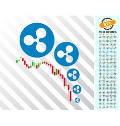 Ripple deflation chart flat icon with bonus vector