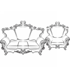 Royal Sofa and Armchair set vector image