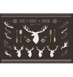 Rustic Antlers Set silhouettes of rustic antler vector image