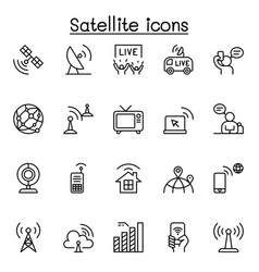 satellite icon set in thin line style vector image