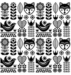 Scandinavian seamless folk art pattern - black vector