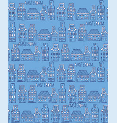 Seamless pattern with dutch houses vector