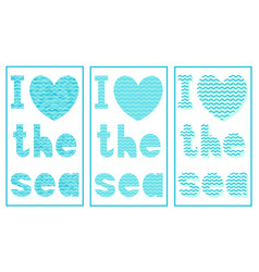 set art inscription heart with a marine pattern vector image