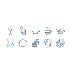 Set food and drink icons such as water drop vector