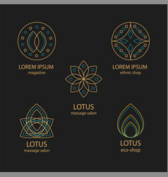 set of geometric design logos and monograms vector image