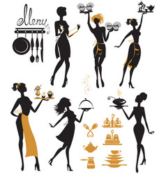 Set of girl silhouettes waitress with tray vector