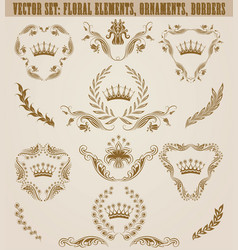 set of golden monograms with floral elements for vector image