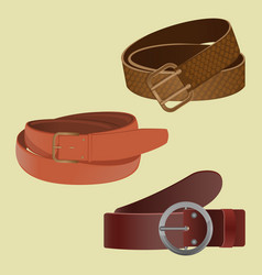 Set of leather waist belts isolated modern unisex vector