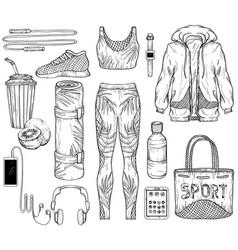 Sketch of sportswear sport gadgets vector