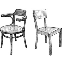 Sketches old wooden chairs vector