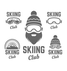 skiing club isolated badge or emblems vector image