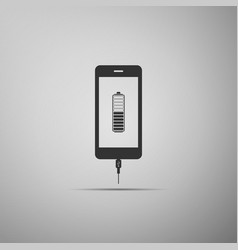 Smartphone battery charge icon on grey background vector