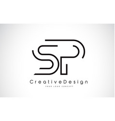 Sp s p letter logo design in black colors vector