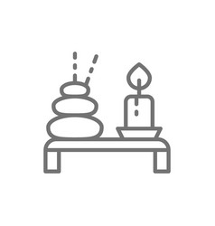 Spa thai hot stone with candle line icon vector