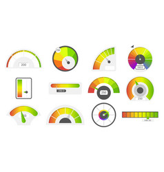 speedometer icons credit score indicators vector image