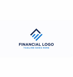 square financial logo design inspiration vector image