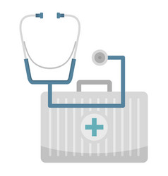 Stethoscope and kit icon flat style vector