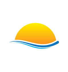 Sunset wave icon logo vector