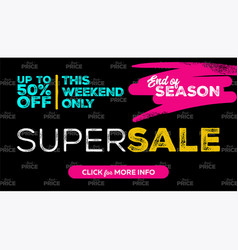 Super sale banner design vector