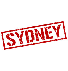 Sydney red square stamp vector
