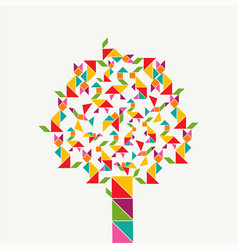 Tangram geometry shape tree concept vector