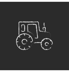 Tractor icon drawn in chalk vector