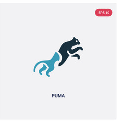 Two color puma icon from animals concept isolated vector