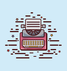 Typewriter office tool to write report vector